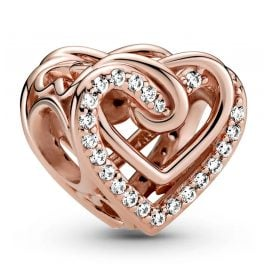 Pandora 789270C01 Rose Charm Sparkling Entwined Heart