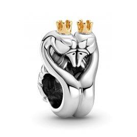 Pandora 799315C00 Silber Charm Zweifarbige Schwäne und Herz