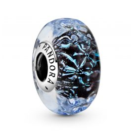 Pandora 798938C00 Silber Bead-Charm Muranoglas Welliger Dunkelblauer Ozean