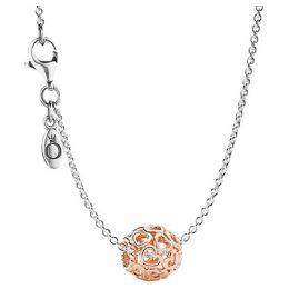 Pandora 08341 Silber-Halskette mit Anhänger Herzstrudel Rosé