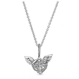 Pandora 398505C01-45 Ladies' Necklace Pave Heart & Angel Wings