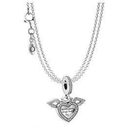 Pandora 75614 Heart Pendant with Angel's Wing & 2-Row Necklace Silver 925