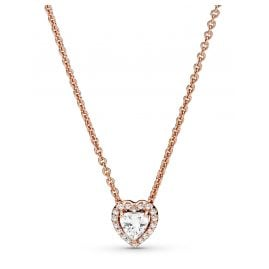Pandora 388425C01-45 Rose Women's Necklace Sparkling Heart