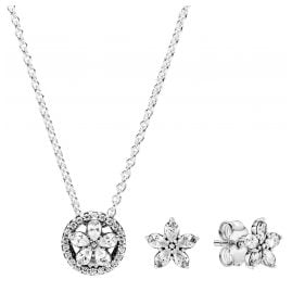 Pandora 39670 Ladies' Gift Set Sparkling Snowflake Necklace + Earrings