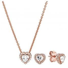 Pandora 39671 Women's Gift Set Sparkling Heart Necklace + Earrings