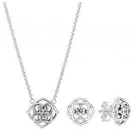 Pandora 51074 Geschenkset für Damen Kette und Ohrringe Rosenblüte
