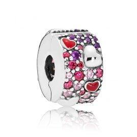 Pandora 797838CZRMX Clip Charm Asymmetric Hearts of Love