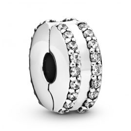 Pandora 798422C01 Silver Clip Element Double Lined Pavé