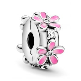 Pandora 798809C01 Silver Clip Charm Pink Daisy Flower