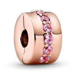 Pandora 781972CO1 Rose Clip-Element Rosafarbene Funkelnde Linie Clip