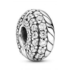 Pandora 799089C01 Clip-Charm Silver Pavé with Snake Chain Pattern
