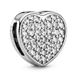 Pandora 798684C01 Reflexions Silver Clip Charm Pavé Heart