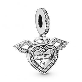 Pandora 798485C01 Silver Charm Pendant Heart & Angel Wings