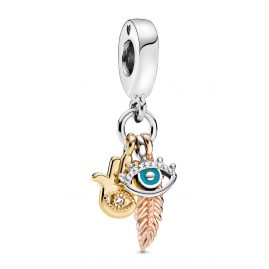 Pandora 768785C01 Dangle Charm Hamsa, All-seeing Eye & Feather Spirituality