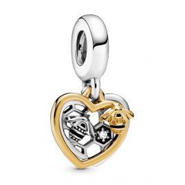 Pandora 768838C01 Silver Dangle Charm Hearts & Bees