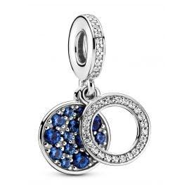 Pandora 799186C01 Silber Charm-Anhänger Funkelnde Blaue Scheibe