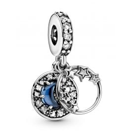 Pandora 799216C01 Dangle Charm Blue Night Sky Crescent Moon & Stars Silver