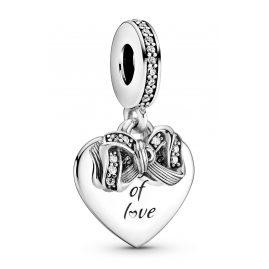 Pandora 799221C01 Charm-Anhänger Schleife & Liebesherz Silber