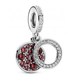 Pandora 799186C03 Silber Charm-Anhänger Funkelnde Rote Scheibe