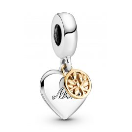 Pandora 799366C00 Dangle Charm Two-Tone Family Tree & Heart