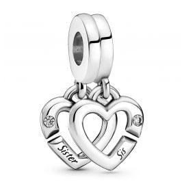 Pandora 799538C01 Silver Dangle Charm Linked Sister Hearts