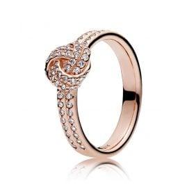Pandora 180997CZ Damenring Funkelnder Liebesknoten Rosé