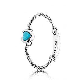 Pandora 197191NYA Ladies' Ring Spirited Heart Turquoise