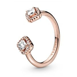 Pandora 188506C01 Rose Ladies' Ring Square Sparkle Open Ring