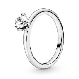 Pandora 198691C01 Silver Ring for Ladies Clear Heart Solitaire