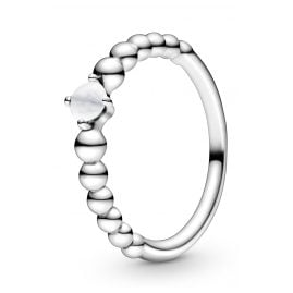 Pandora 198598C04 Silber Damen-Ring Milky White Beaded