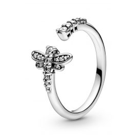 Pandora 198806C01 Ladies' Open Ring Silver Sparkling Dragonfly