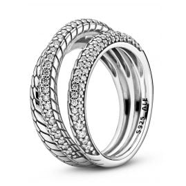 Pandora 199083C01 Silver Ring for Ladies with Snake Chain Pattern