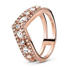 Pandora 189095C01 Rose Ladies´ Ring Sparkling Double Wishbone