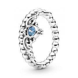 Pandora 199236C01 Women's Ring Disney Cinderella Blue Tiara Silver