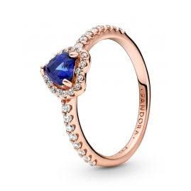 Pandora 188421C01 Rose Damenring Funkelndes Herz Blau