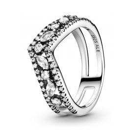 Pandora 199095C01 Ladies' Ring Silver Sparkling Double Wishbone