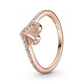 Pandora 189302C01 Rose Women's Ring Sparkling Wishbone Heart