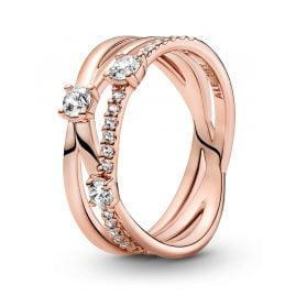 Pandora 189400C01 Rose Damen-Ring Funkelndes Dreierband
