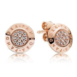 Pandora 280559CZ Ladies Earrings Pandora Logo Rose