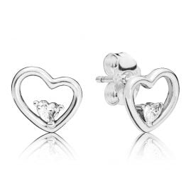 Pandora 297813CZ Stud Earrings Asymmetric Hearts of Love