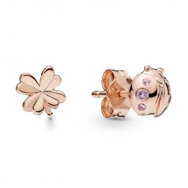 Pandora 7960NPO Rose Ladies´ Ear Studs Four-Leaf Clover and Ladybird