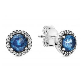 Pandora 296272C01 Stud Earrings Blue Round Sparkle