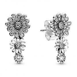 Pandora 298876C01 Ladies' Stud Earrings Sparkling Daisy Flower Trio Silver