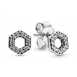 Pandora 298800C01 Stud Earrings Sparkling Honeycomb Hexagon Silver