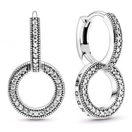 Pandora 299052C01 Sparkling Double Hoop Earrings Silver