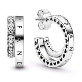 Pandora 299056C01 Pavé Double Hoop Earrings Silver