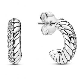 Pandora 299091C01 Ladies´ Creoles Pavé with Snake Chain Pattern