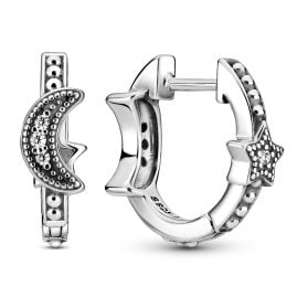 Pandora 299152C01 Ladies' Hoop Earrings Crescent Moon & Star