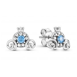 Pandora 299193C01 Ladies' Stud Earrings Cinderella Pumpkin Coach Silver