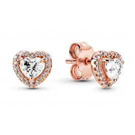 Pandora 288427C01 Rose Ladies' Stud Earrings Sparkling Hearts